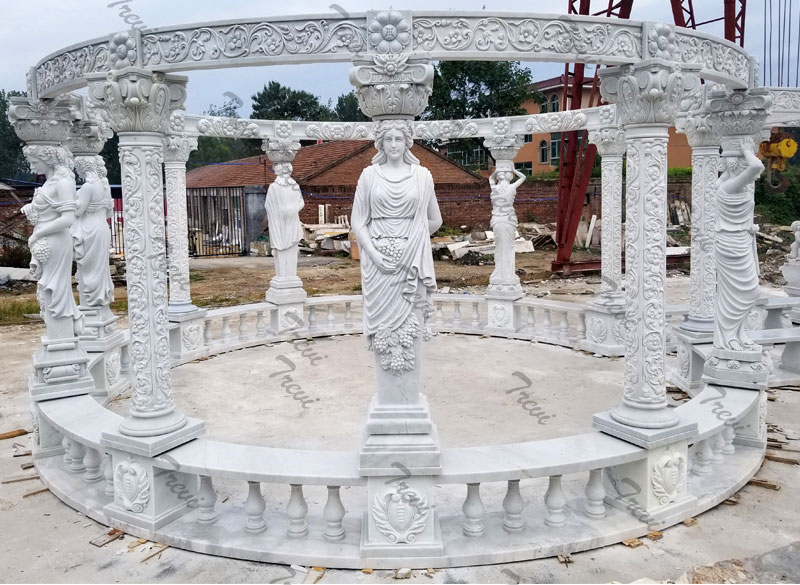 Outdoor large luxury gazebo rectangle pergola marble for backyard decor design