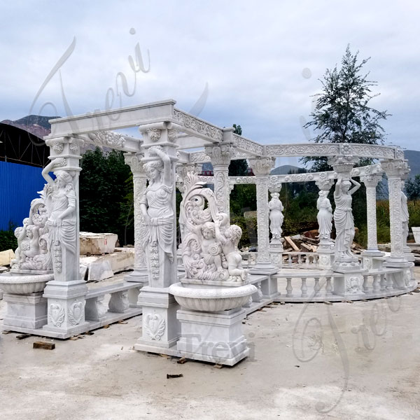 Outdoor large luxury gazebo rectangle pergola marble for backyard decor designs TMG-32