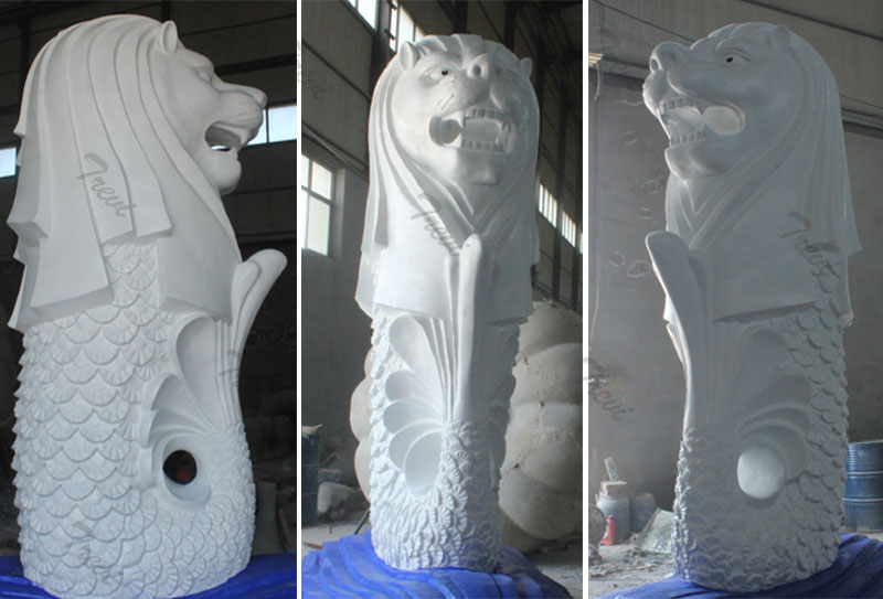 Outdoor large sea lion singapore merlin statues replica details
