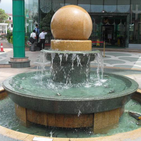 Outdoor stone fountains floating ball water features for sale TMF-37