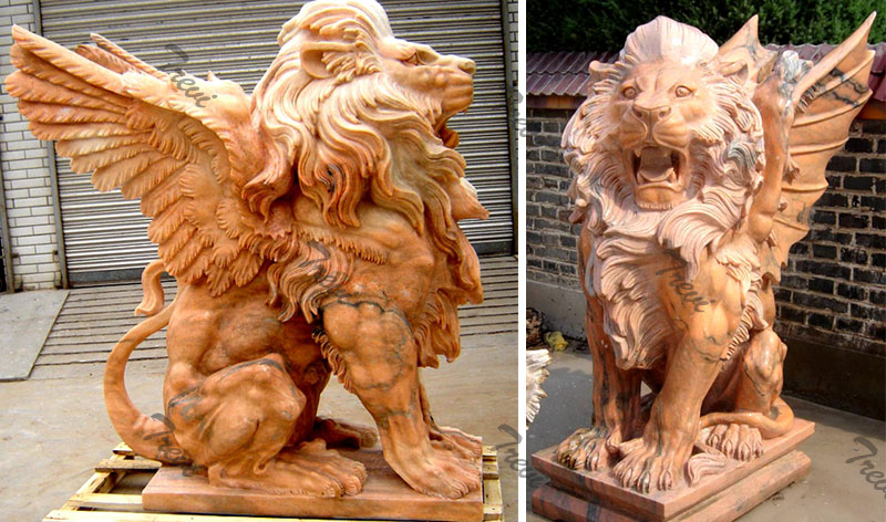 Outdoor stone winged lion gargoyle garden statues in front of house outside