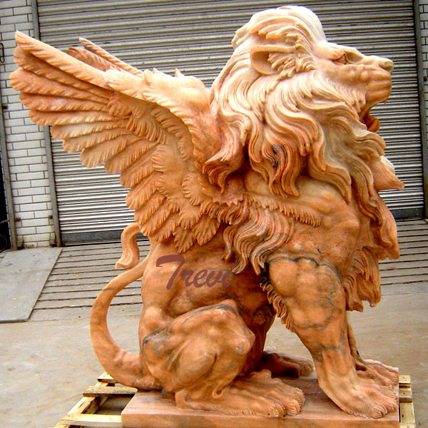Outdoor stone winged lion gargoyle garden statues in front of house