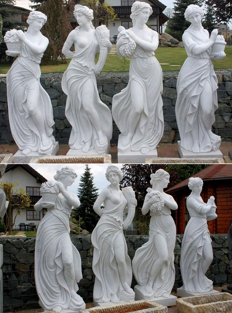 Outdoor white marble four season goddess life size garden statues designs details