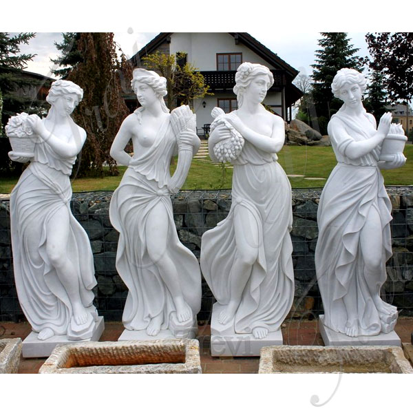 Outdoor White Marble Four Season Goddess Statue Life Size Garden Sculptures Designs for Sale TMC-42