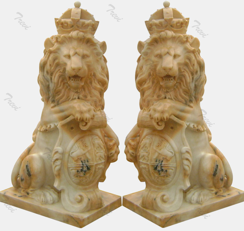 Pair of sitting crown antique marble lions statue with shield for driveway