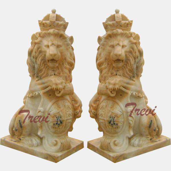 Pair of sitting crown marble lions statue with shield for driveway