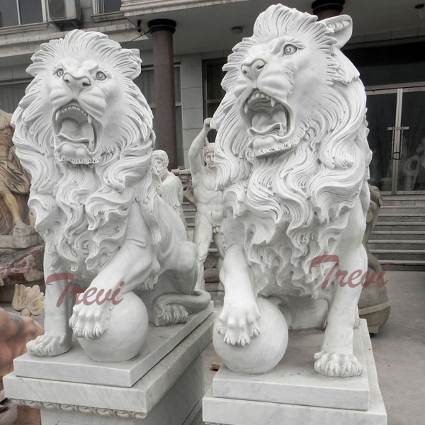 Pair of standing roaring guardian lion with ball statues for outside house decor