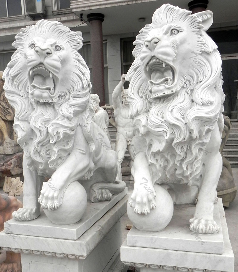 Standing roaring guardian lion with ball statues in pairs for outside house decor.jpg