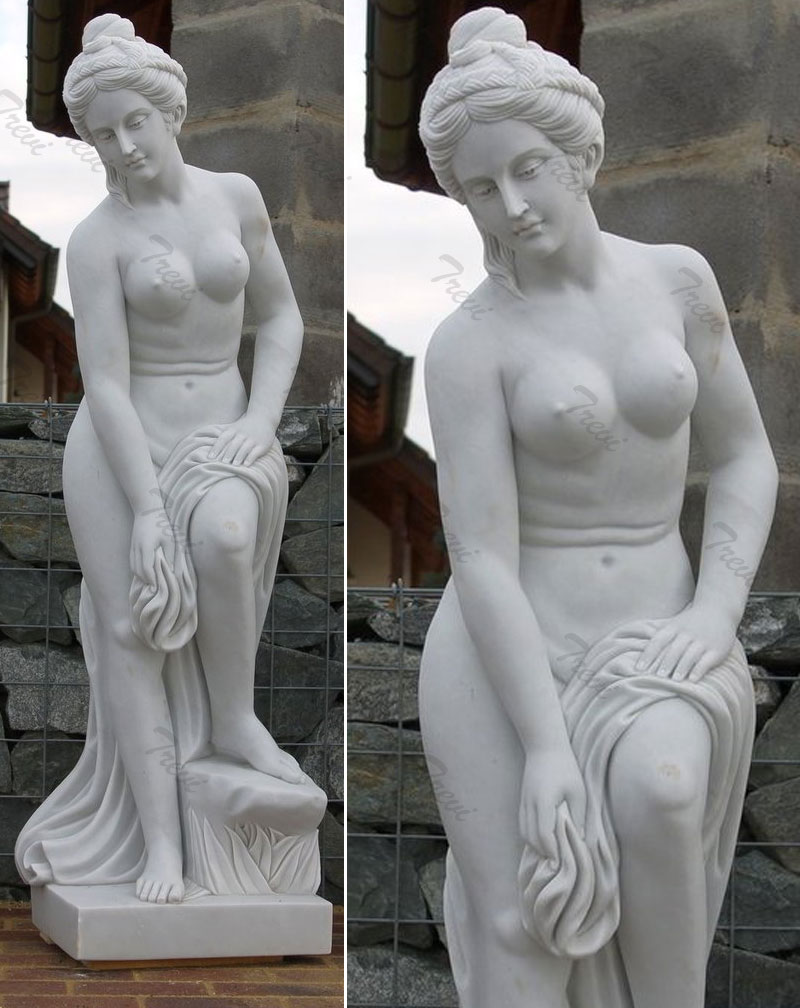 White marble nude statues of woman for outside garden ornament