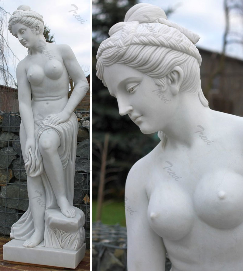 White marble nude statues of woman for outside garden ornaments