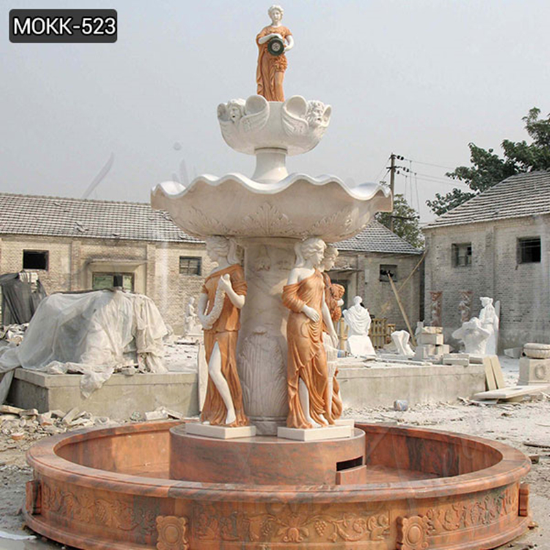 Elegant Young Lady Marble Fountain