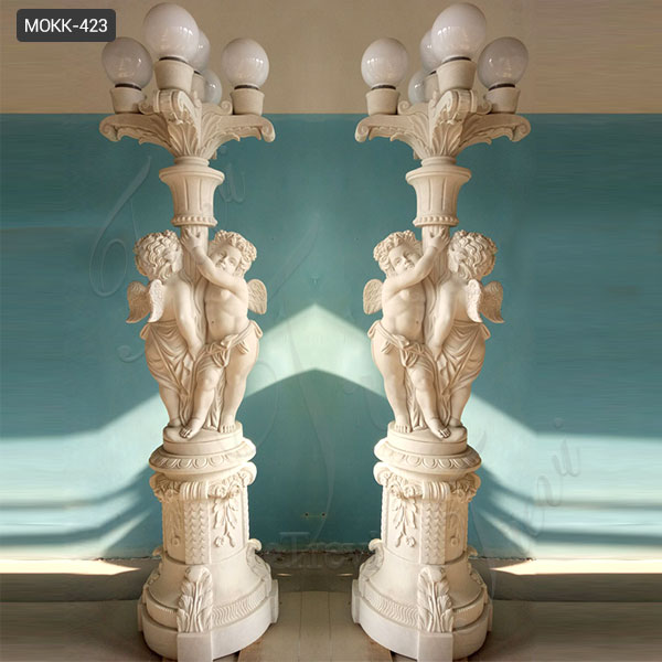 Life Size Marble Lamps with the Angel Statues Home Decoration on Stock MOKK-423