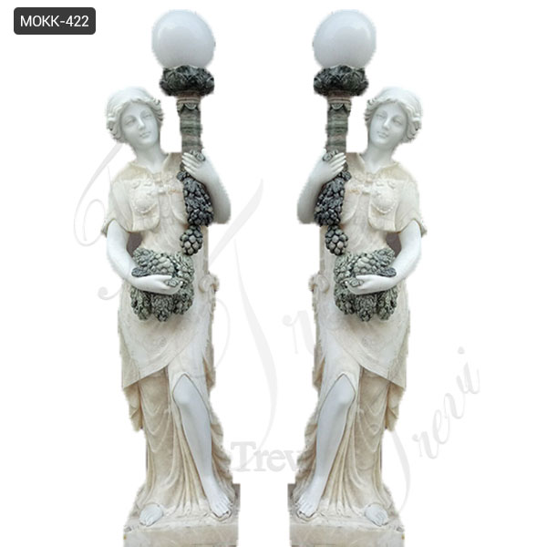 Outdoor Customize Made Marble Lady Lamp Statue Decoration for Sale MOKK-422