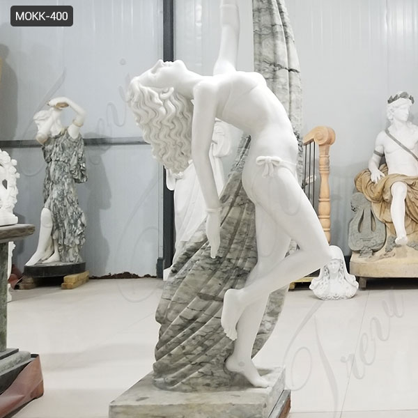 Life Size Outdoor Beautiful White Marble Dancing Girl Statue for Sale MOKK-400