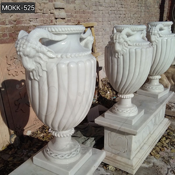 Customize White Marble Planter Design for Garden or Indoor Decor MOKK-525
