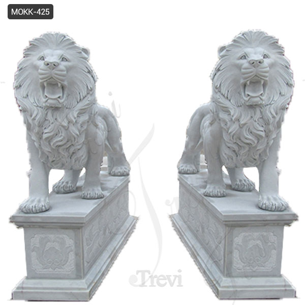 Outdoor Pair of White Marble Standing Lion Statues with Base for Sale MOKK-425
