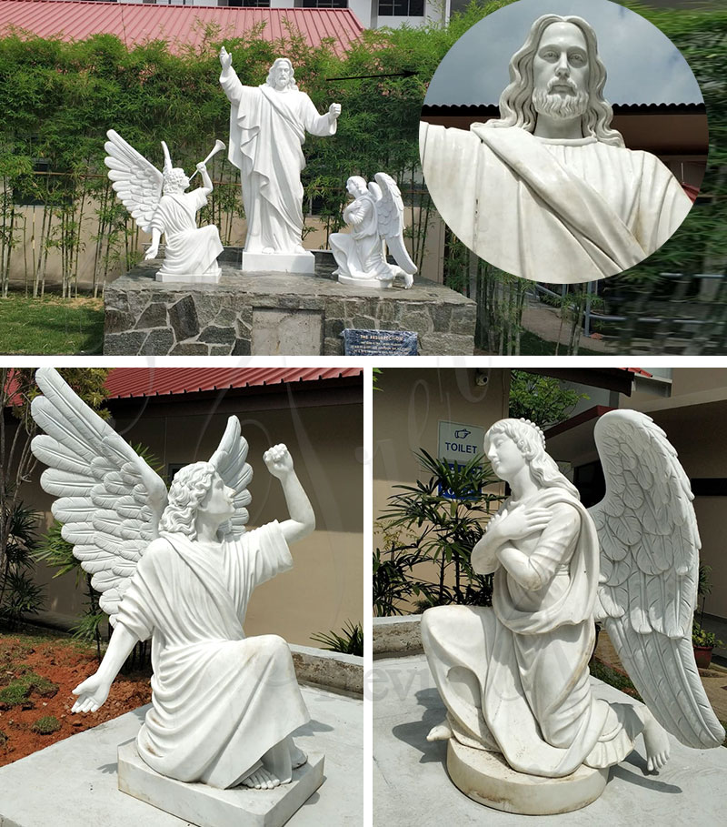 marble Jesus Christ Statue with Angels Statue