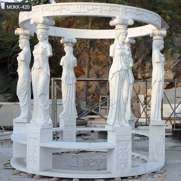 Large White Marble Gazebo with Carving Figure Sculpture Statue for Sale MOKK-420