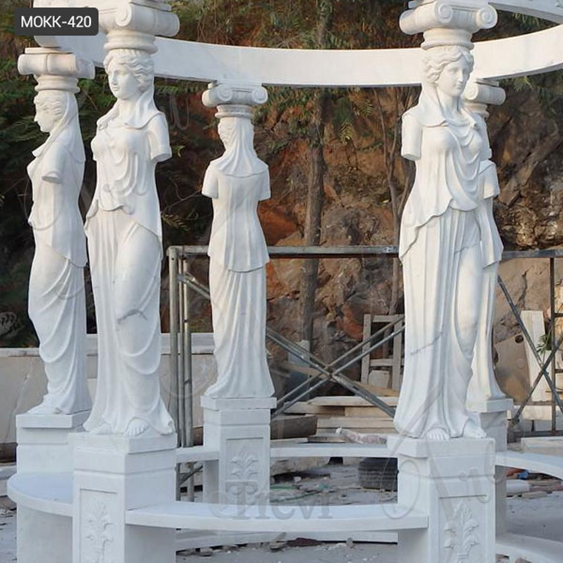 2 White Marble Gazebo with Carving Figure Sculpture