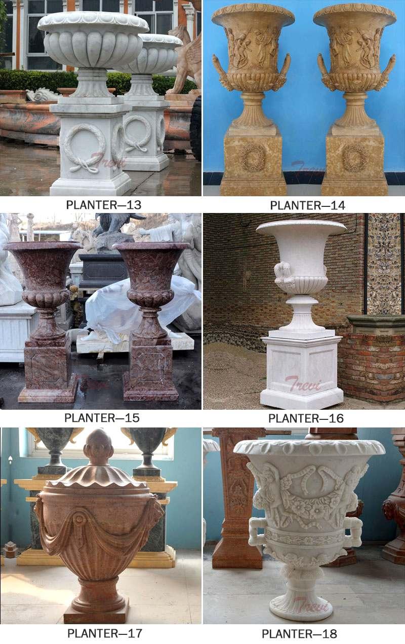 Carved Figures Beige Marble Flower Pots