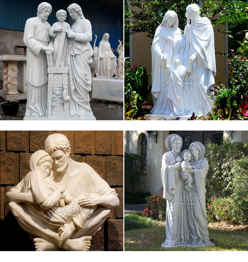 Catholic Holy Family White Marble Statue for sale