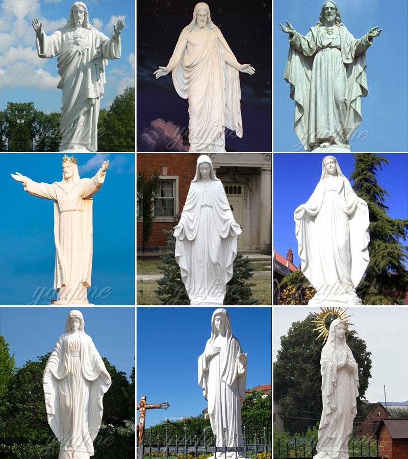 Catholic Holy Family White Marble Statue on sale