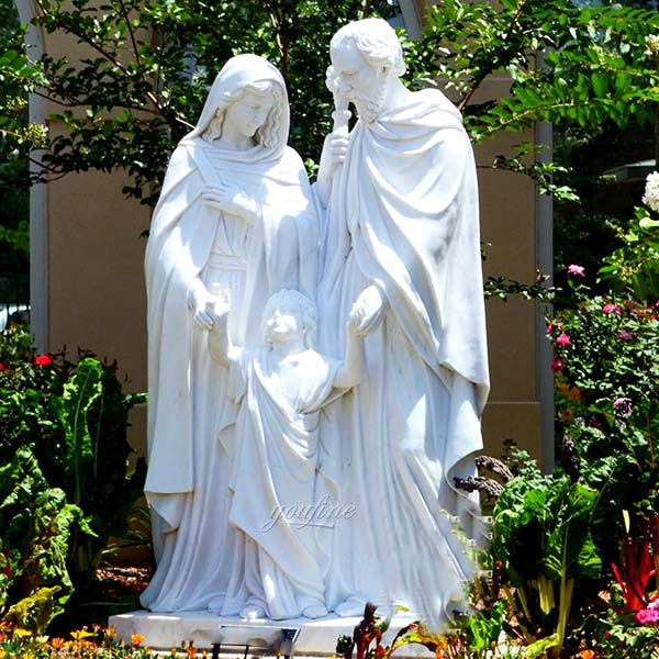 Life Size Outdoor Catholic Holy Family White Marble Statue Garden Decor for Sale CHS-605