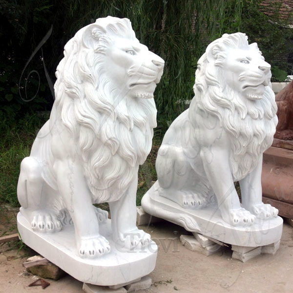 China Marble Hand Carved Lion Statues for Front Porch for Sale Mokk-326