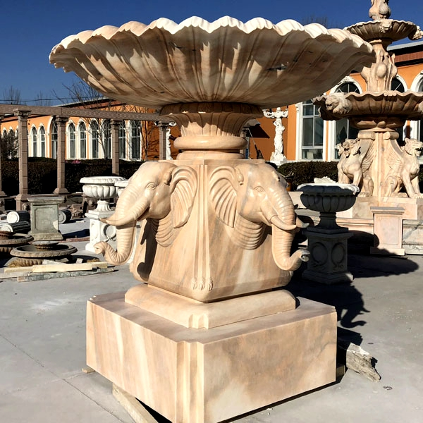 Custom Made Beige Marble Water Fountain Hand Carved with Elephant Statues for Sale MOKK-61