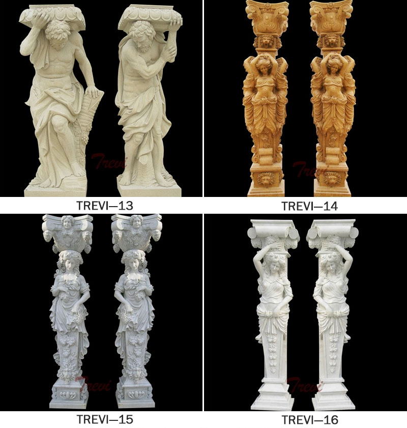 Decorative Lady Statue Marble Column for sale