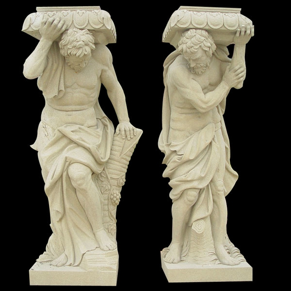 High Quality Hand Made Marble Front Porch Columns with Figure Statue for Sale MOKK-169
