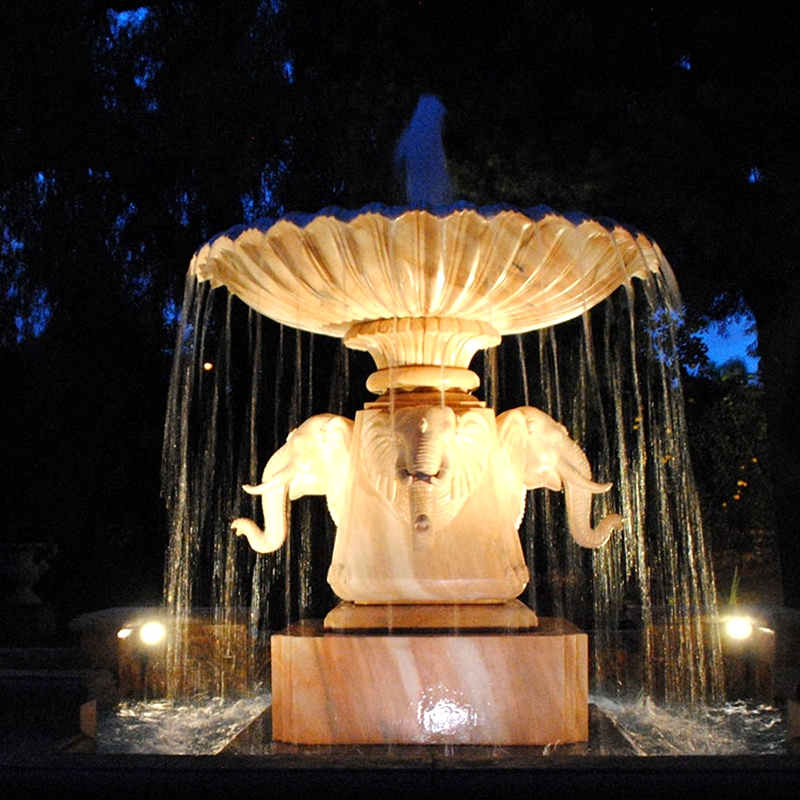 Hand-Carved-Elephant-Head-Water-Fountain-Stone