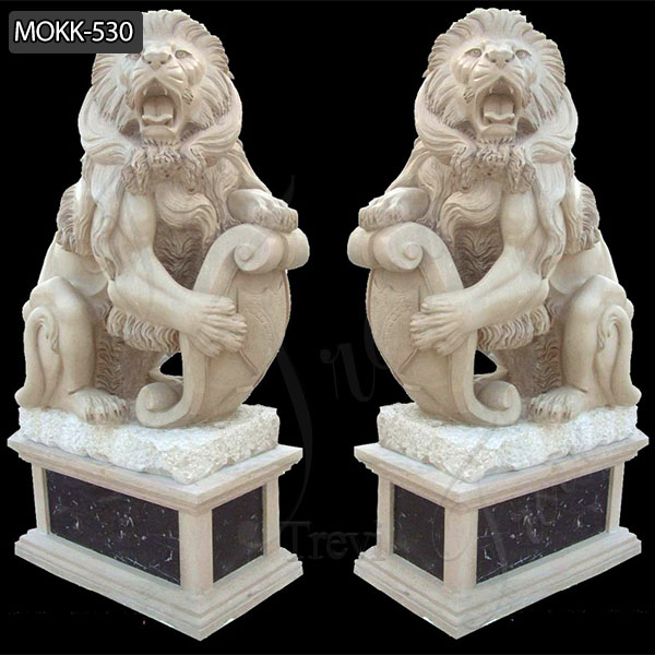 Hand Carved Marble Guardian Lion Statues Garden Ornament Animals