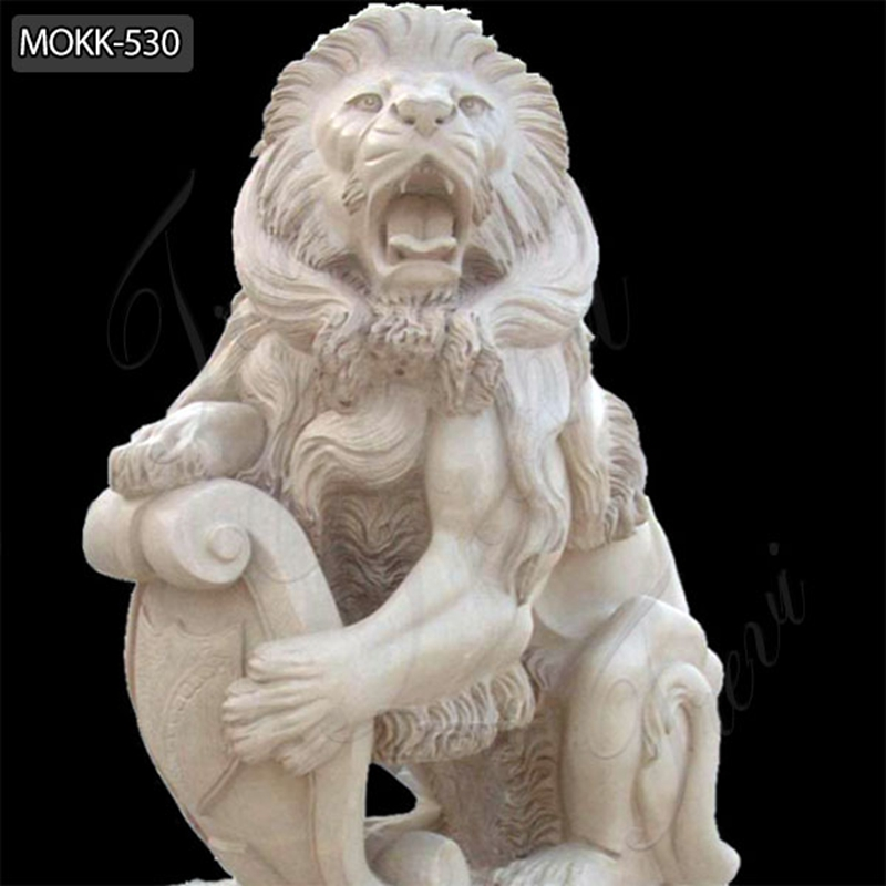 Hand Carved Marble Guardian Lion Statues