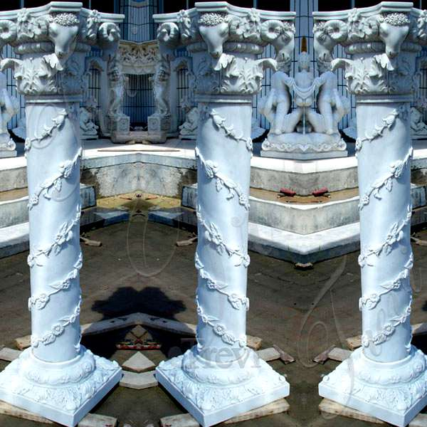 Hand Carved White Marble Pillars Decorative House Pillars for Sale MOKK-153