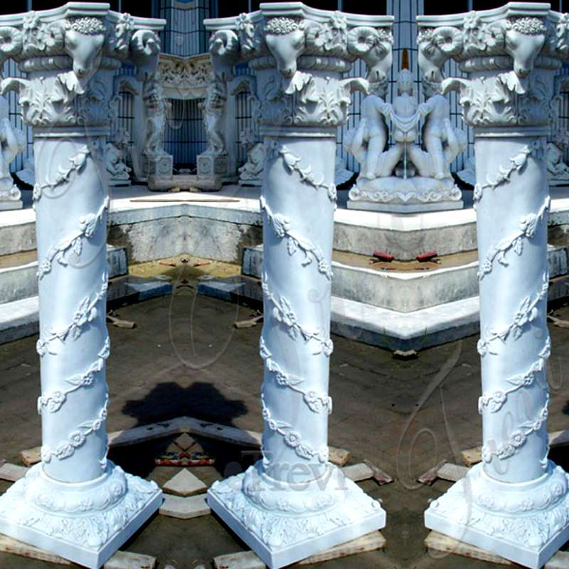Hand Carved White Marble Pillars Decorative House Pillars