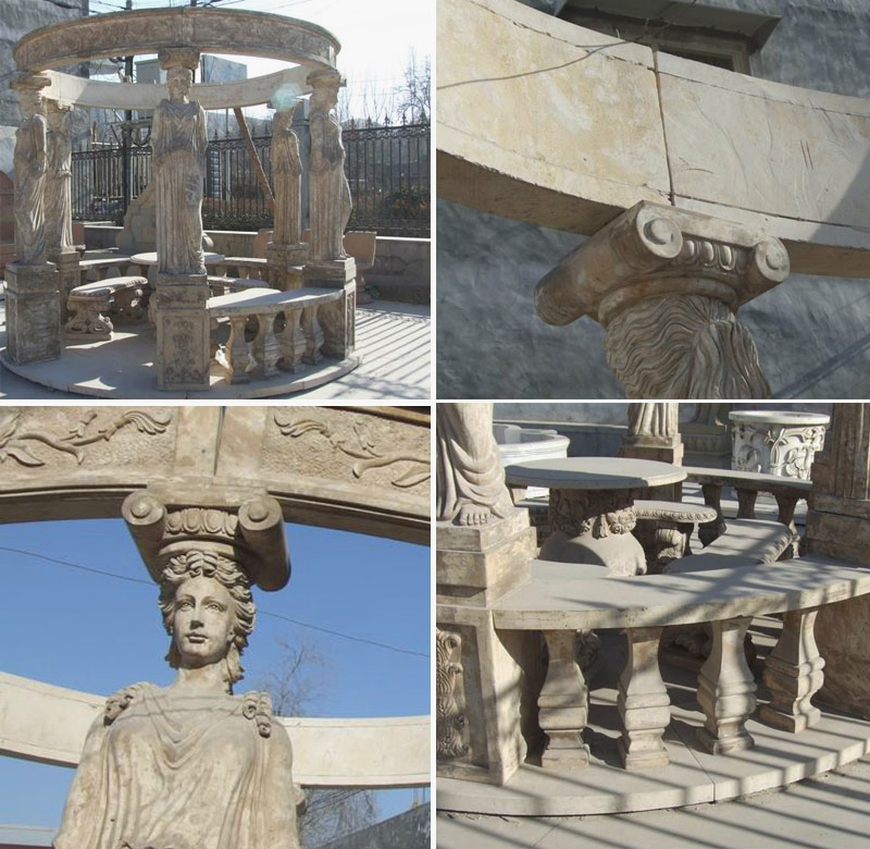Hot Design Round Gazebo Marble Statue Pavilion with Female