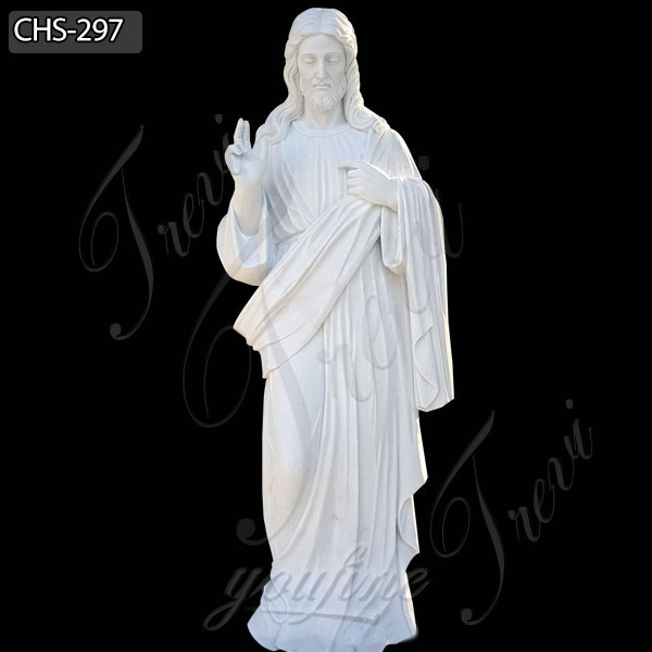 Hand Carved Sacred Heart Jesus Christ White Marble Statue for Sale CHS-297