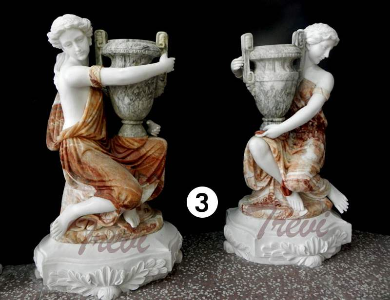 Large Modern Outdoor Plant Pots Carved Figure Statue
