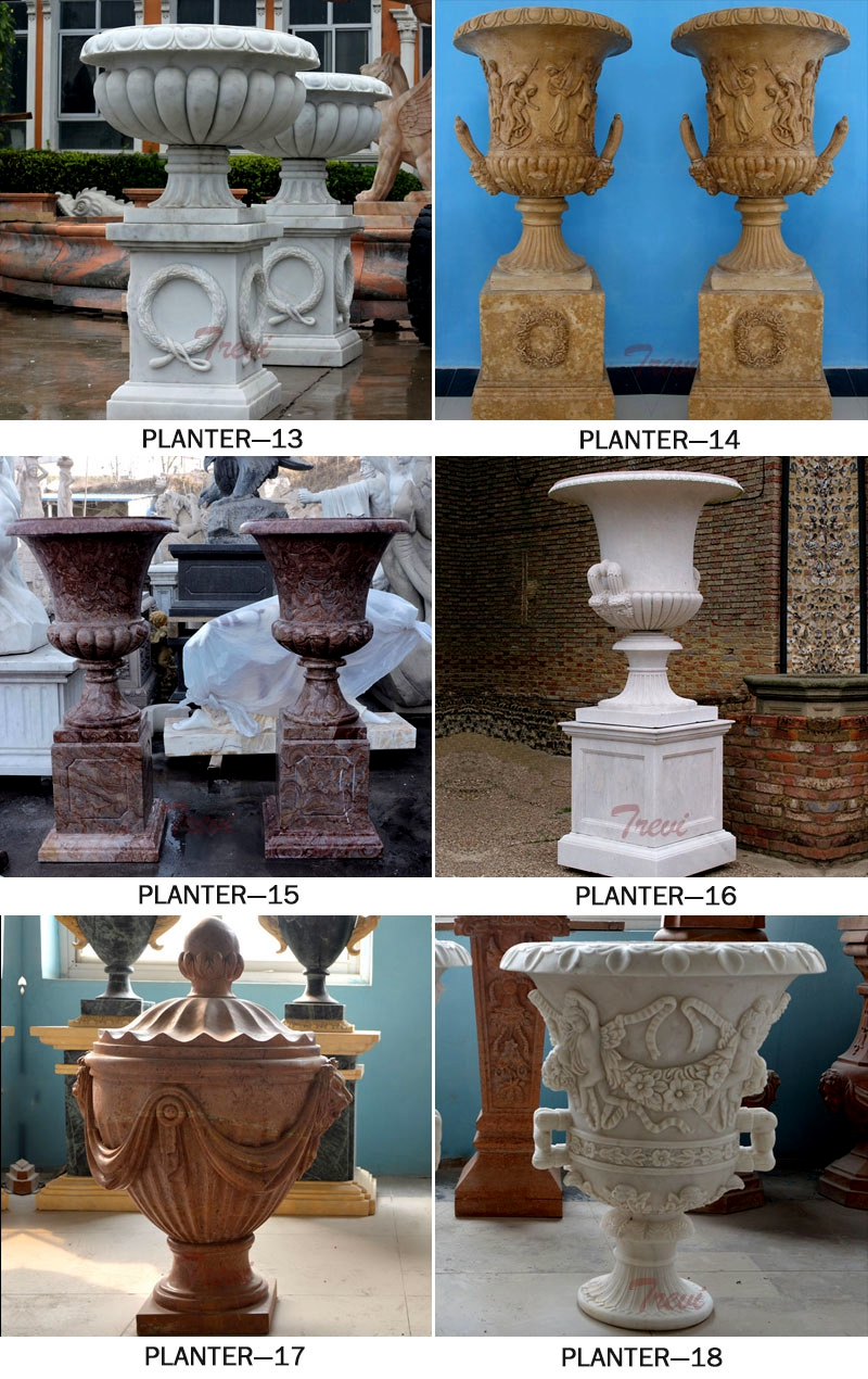 Life Size Hand Carved Marble Planter Pots