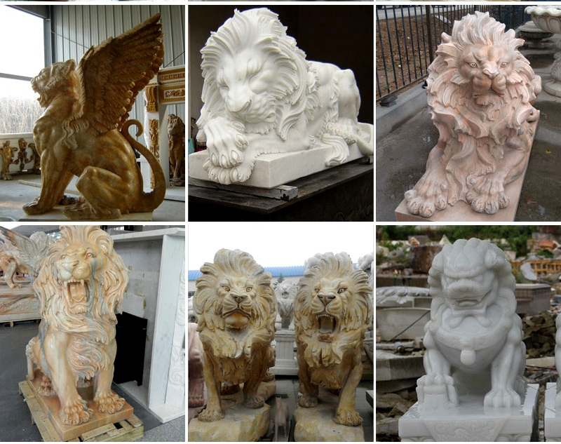 Marble Hand Carved Lion Statues for sale