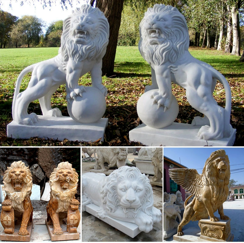 Marble Hand Carved Lion Statues