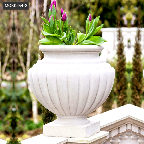Modern Outdoor White Marble Planter Pots with Round Basin for Sale MOKK-54-2