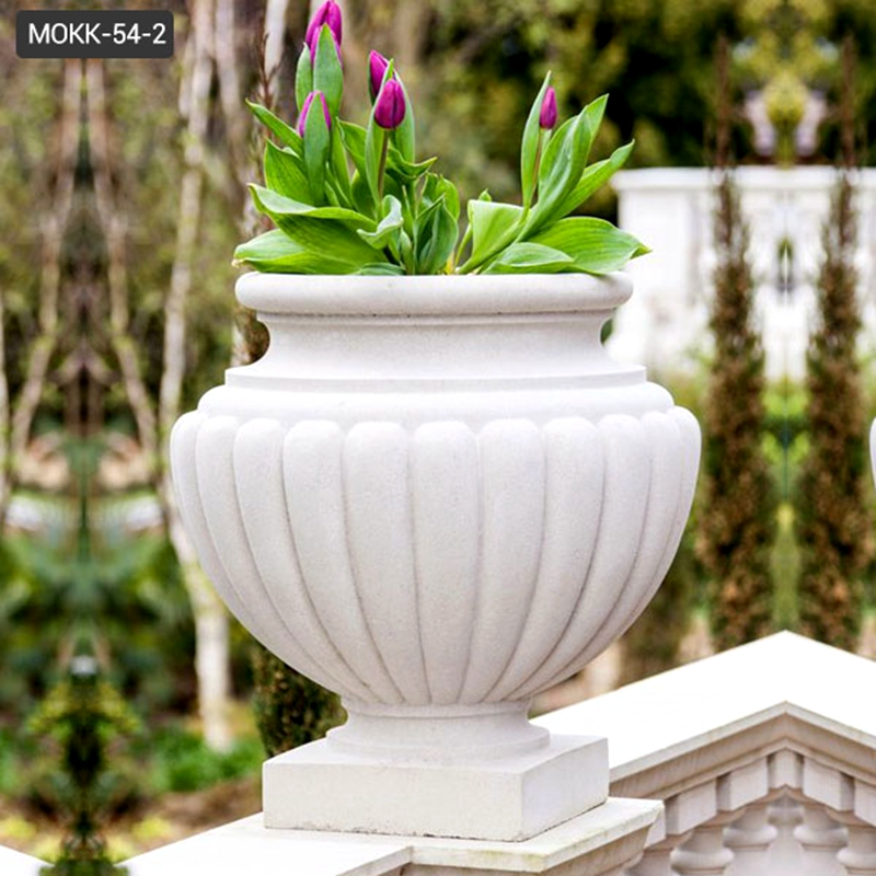 Modern Outdoor White Marble Planter Pots
