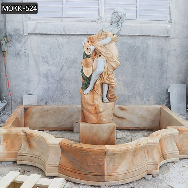 Natural Beige Stone Water Fountain with Female Statue Design for Sale MOKK-524