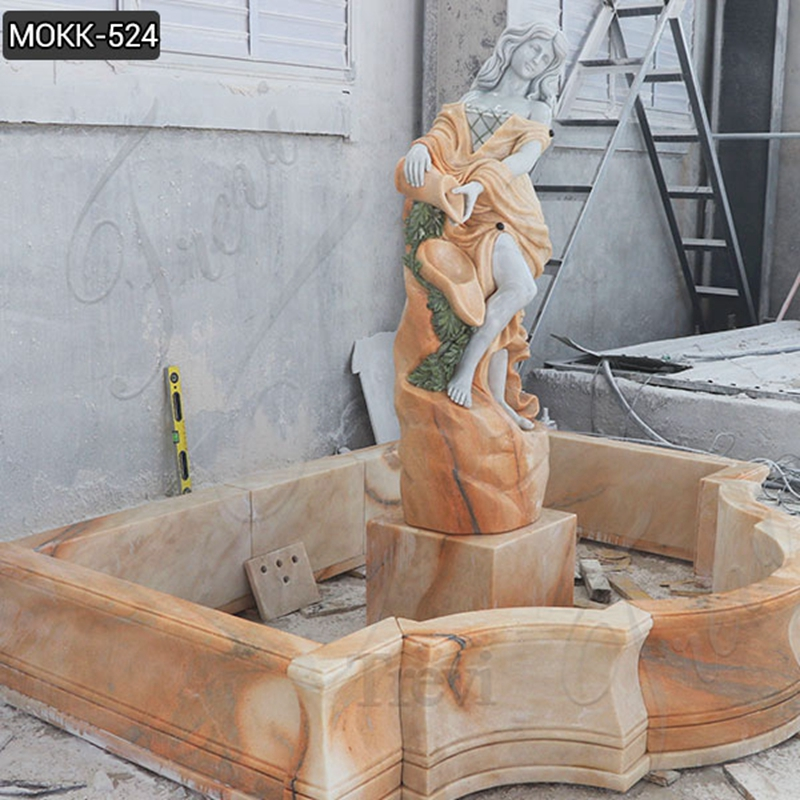 Natural Beige Stone Water Fountain with Female Statue Designs