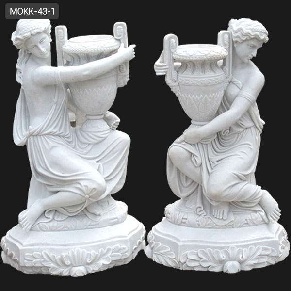 Outdoor Garden Decoration White Marble Carved Statue Planters