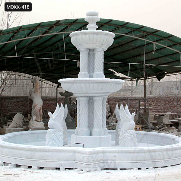 Outdoor Two Tiered Garden Simple Marble Fountain with Animals Statue for Sale MOKK-418