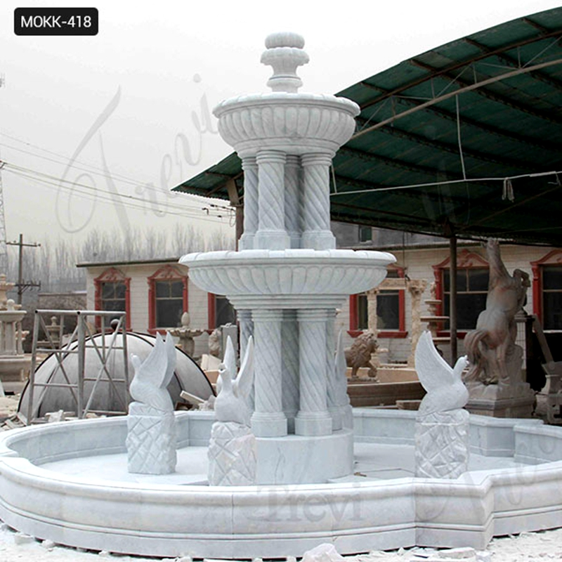 Outdoor Two Tiered Garden Simple Marble Fountain with Animals Statue for Sales