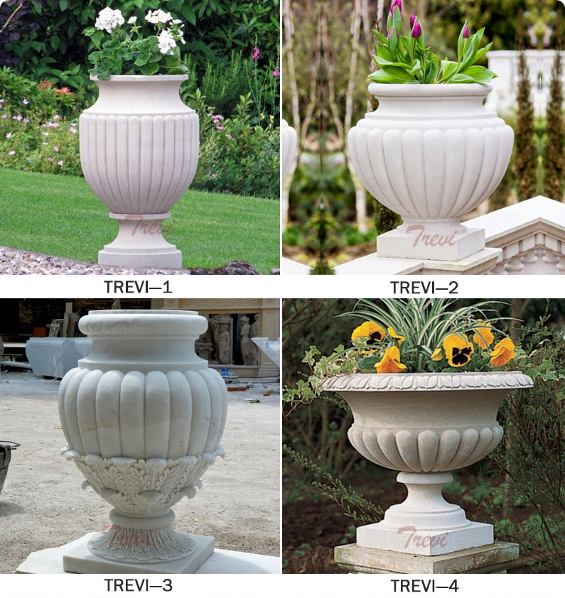 Outdoor White Marble Planter Pots on sale